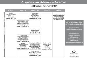 calendario gruppo benessere e movimento Csa delle Donne Milano