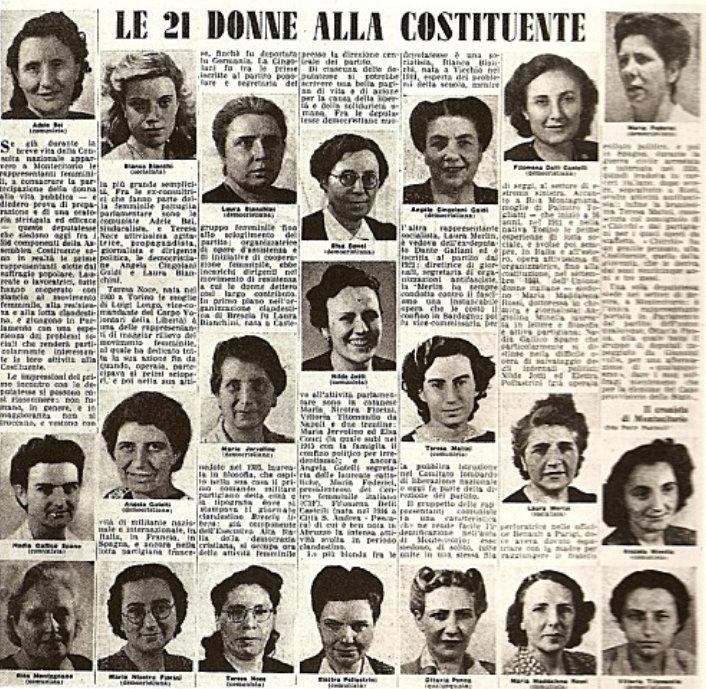 29/9 ore 18,30: ricordiamo le madri costituenti