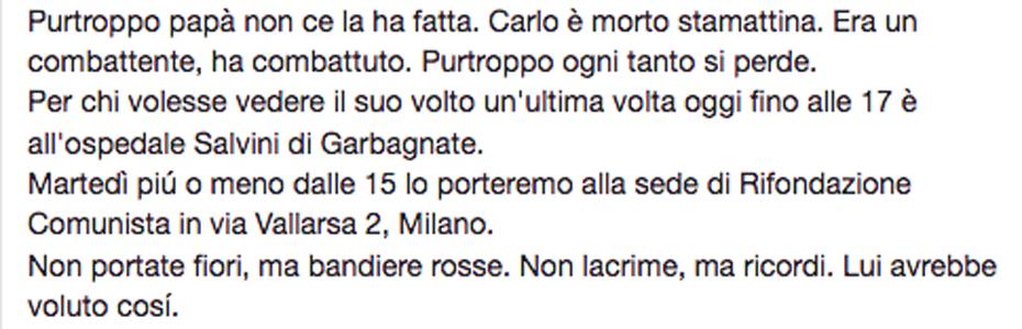 Addio, Carlo Pagani
