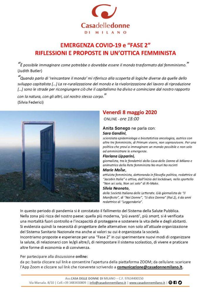 """Evento online: Emergenza Covid-19 e """"Fase 2"""": riflessioni e proposte in un ottica femminista."""
