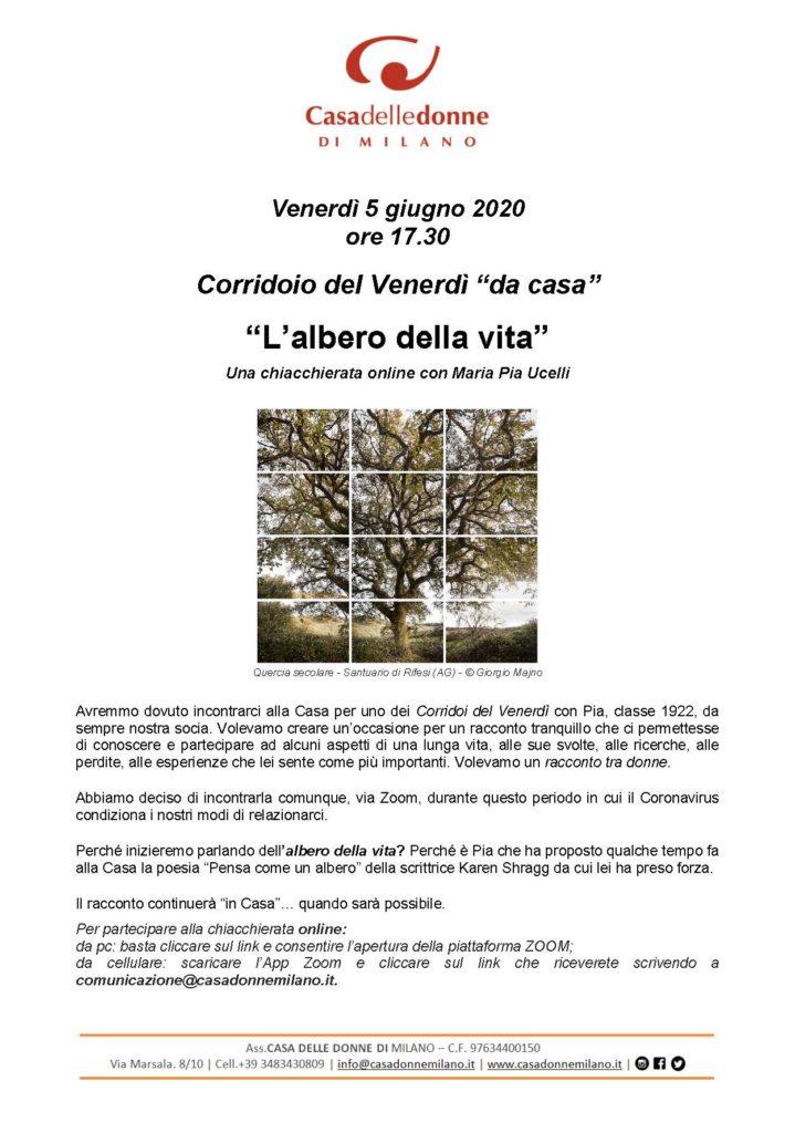 """Corridoio del Venerdì """"da casa"""": L'albero della vita - Una chiacchierata on line on Maria Pia Ucelli @ Casa delle donne di Milano"""