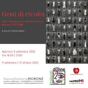 """Apertura della Mostra: """"Gesti di rivolta"""" - Arte, fotografia e femminismo a Milano 1975/1980. A cura di Cristina Casero @ Nuova Galleria Morone"""