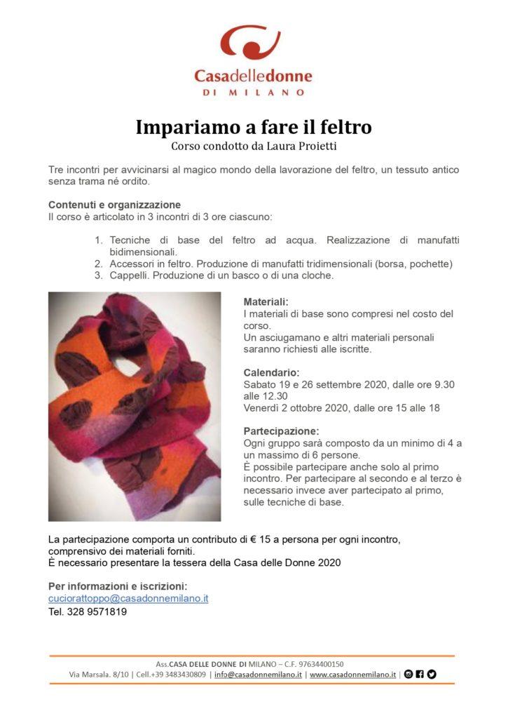 Impariamo a fare il feltro - Corso condotto da Laura Proietti @ Casa delle Donne di Milano