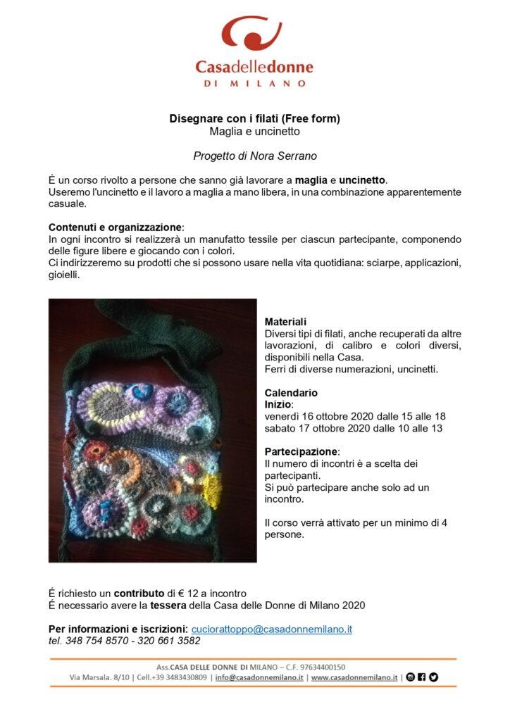 Disegnare con i filati (Free form) maglia e uncinetto @ Casa delle Donne di Milano