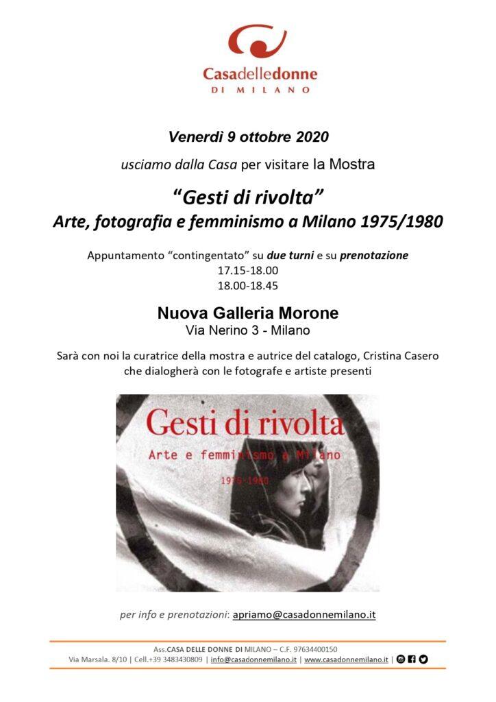 """Usciamo dalla Casa per visitare la Mostra """"Gesti di Rivolta"""" Arte, fotografia e femminismo a Milano 1975/1980 @ Nuova Galleria Morone"""