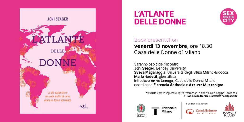 """Evento on-line - Bookcity - Organizzato con la Triennale. Presentazione del libro """"L'Atlante delle Donne"""" di Joni Seager @ Casa delle Donne di Milano"""