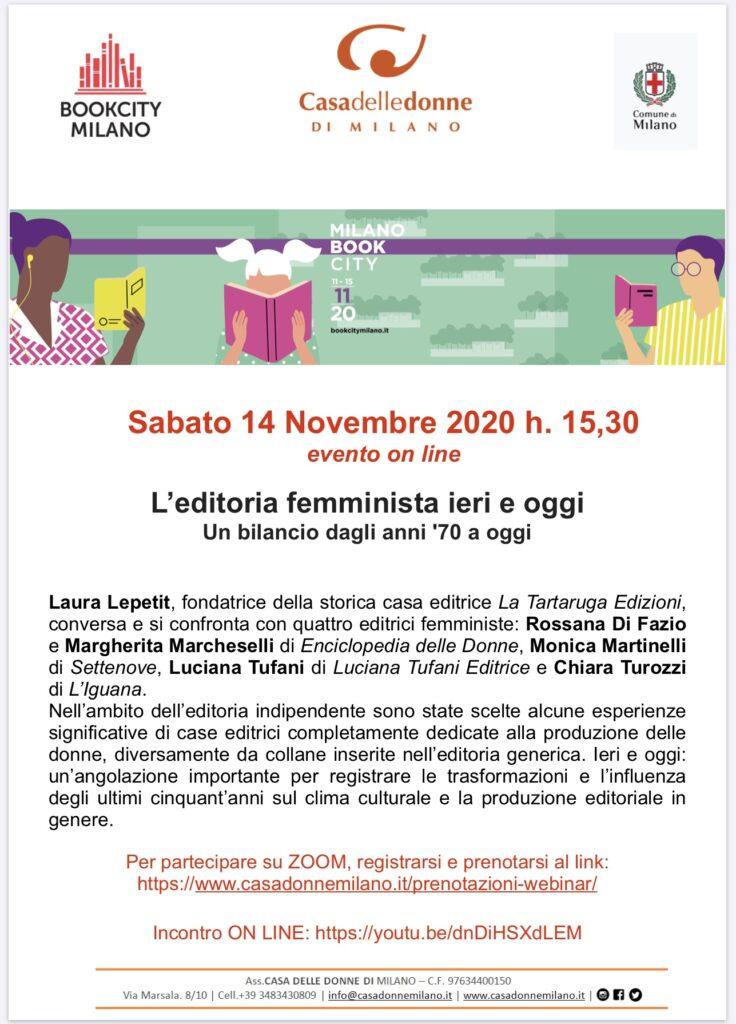 Evento on line - Bookcity - L'editoria femminista ieri e oggi. Un bilancio dagli anni 70 ad oggi @ Casa delle Donne di Milano