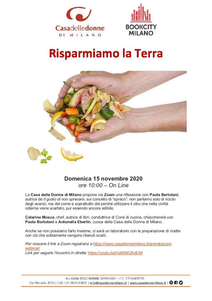 """Evento on line nell'ambito di Bookcity - Presentazione del libro """"Il gusto di non sprecare"""" di Paola Bertolani @ Casa delle Donne di Milano"""