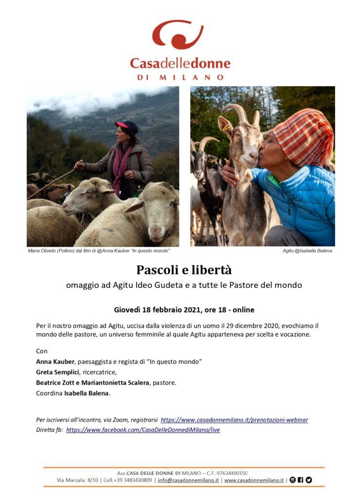 Evento on line - Pascoli e libertà: omaggio a Agitu Ideo Gudeta e a tutte le pastore del mondo