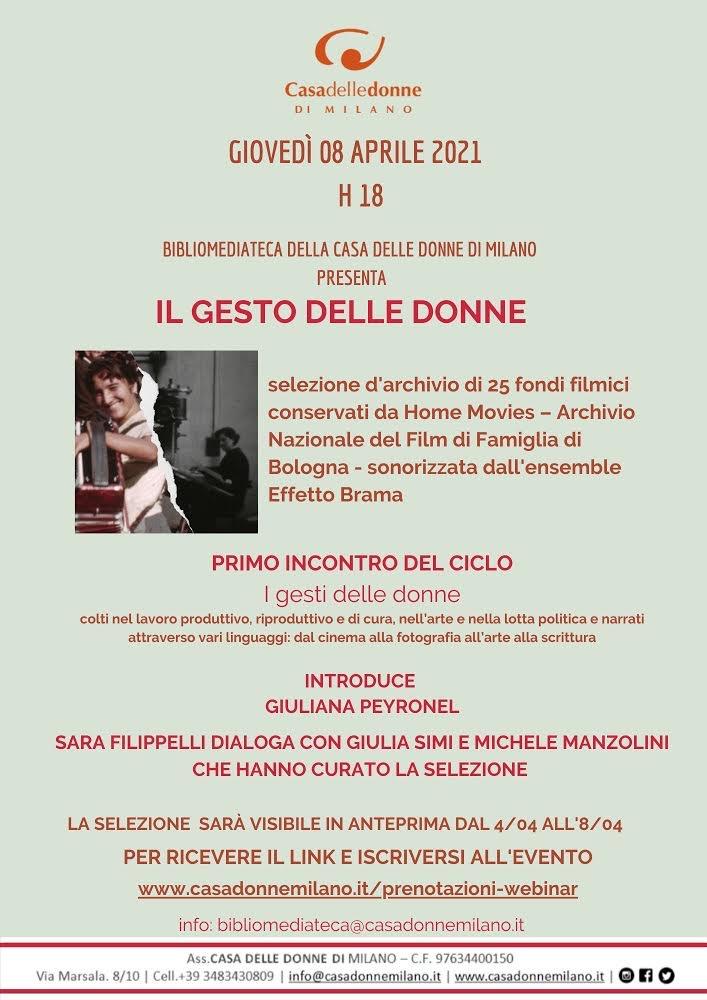 """Evento on line: La Bibliomediateca invita alla proiezione del cortometraggio """"Il gesto delle donne"""""""