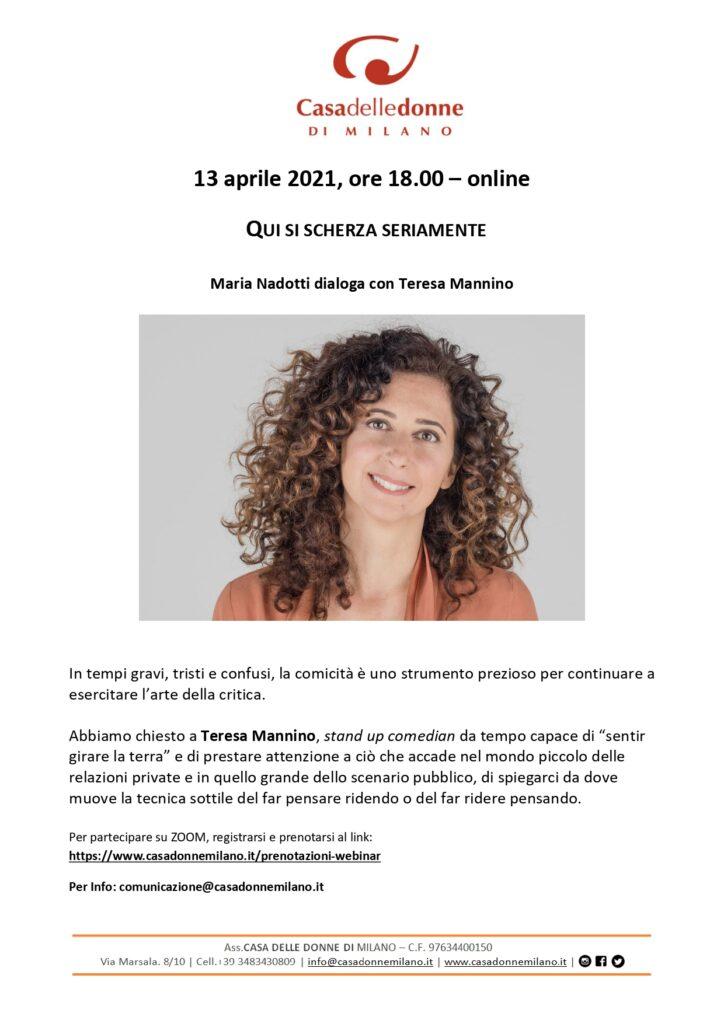 """Evento on line - Incontro con Teresa Mannino: """"Qui si scherza seriamente"""""""