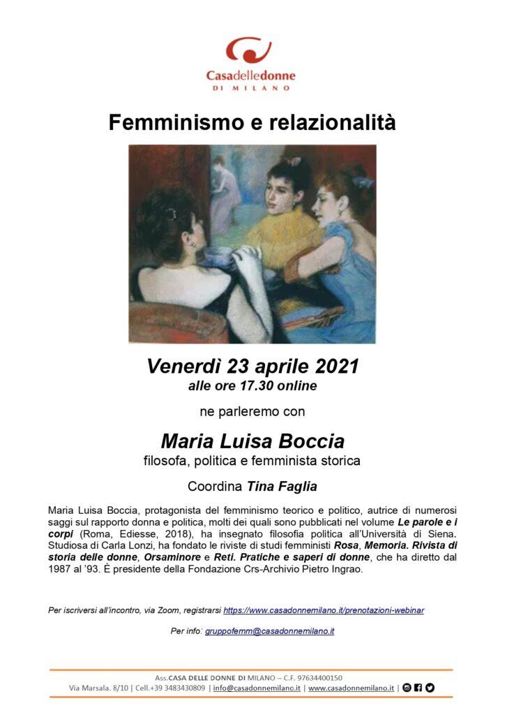 """Evento on line: """"Femminismo e relazionalità"""" Incontro con Maria Luisa Boccia"""
