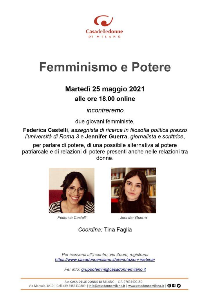 Evento on line: Femminismo e potere. La Casa delle Donne incontra Jennifer Guerra e Federica Castelli.