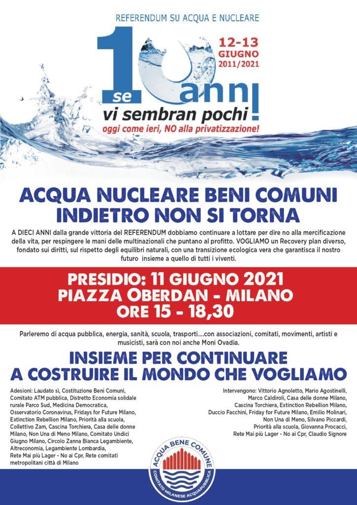 """A 10 anni dal referendum su Acqua e Nucleare. Presidio in piazza Oberdan """"Acqua, Nucleare, Beni Comuni, indietro non si torna"""""""
