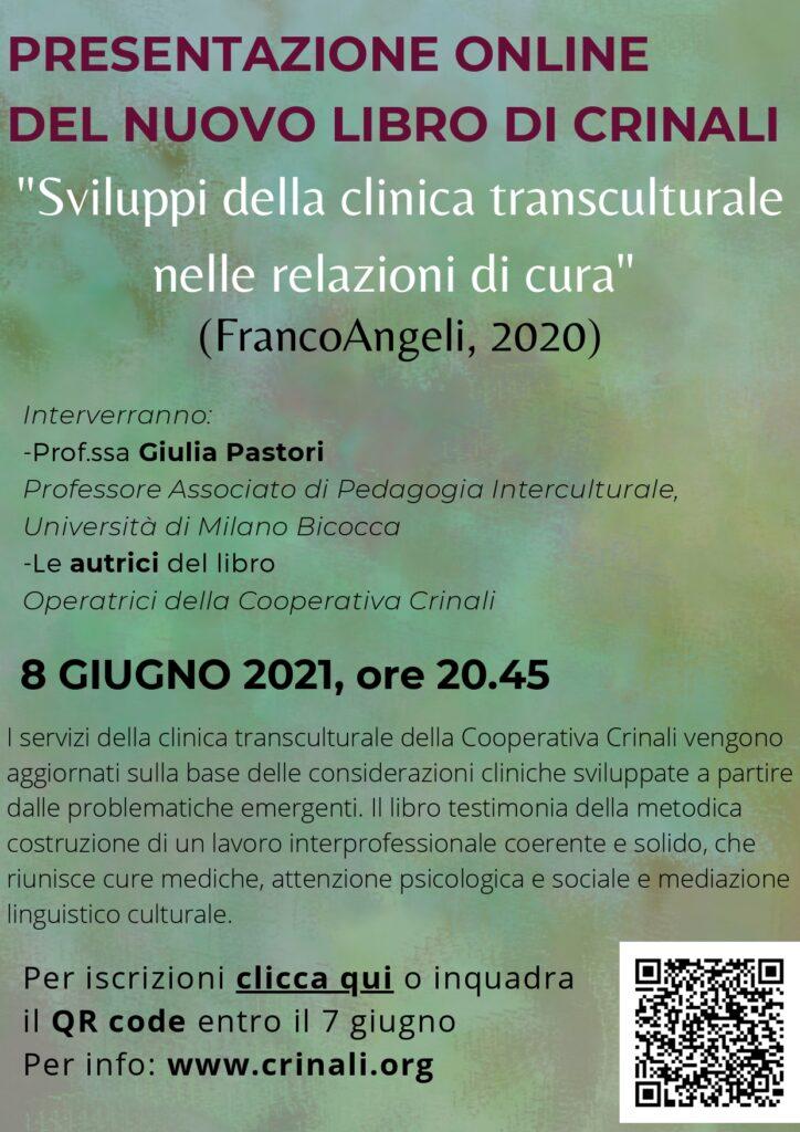 """Presentazione on line del nuovo libro di Crinali """"Sviluppi della clinica transculturale nelle relazioni di cura"""" (Franco Angeli 2020)"""