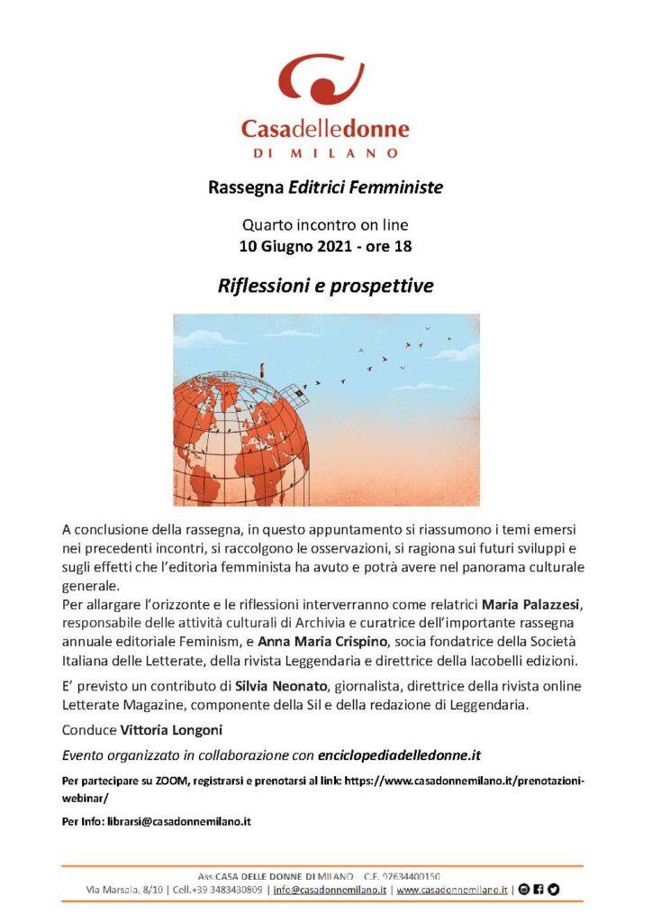 """Evento on line: Quarto incontro della rassegna Editrici femministe - """"Riflessioni e prospettive"""" Uno sguardo panoramico degli incontri, delle esperienze e delle questioni aperte"""
