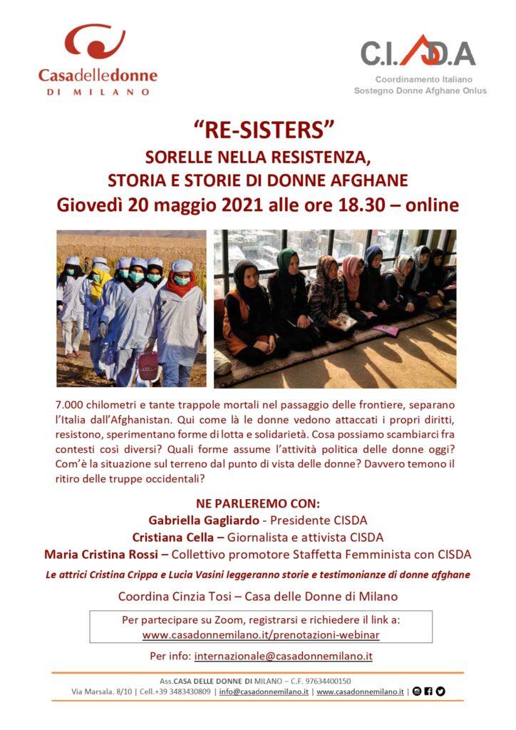 """Evento on line: """"Re-sisters"""" Sorelle nella resistenza, storia e storie di donne afghane."""