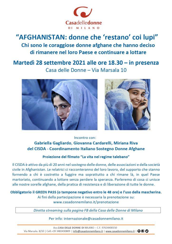 """Afghanistan: Donne che """"restano coi lupi"""" - Incontro in presenza con il CISDA @ Casa delle Donne di Milano"""