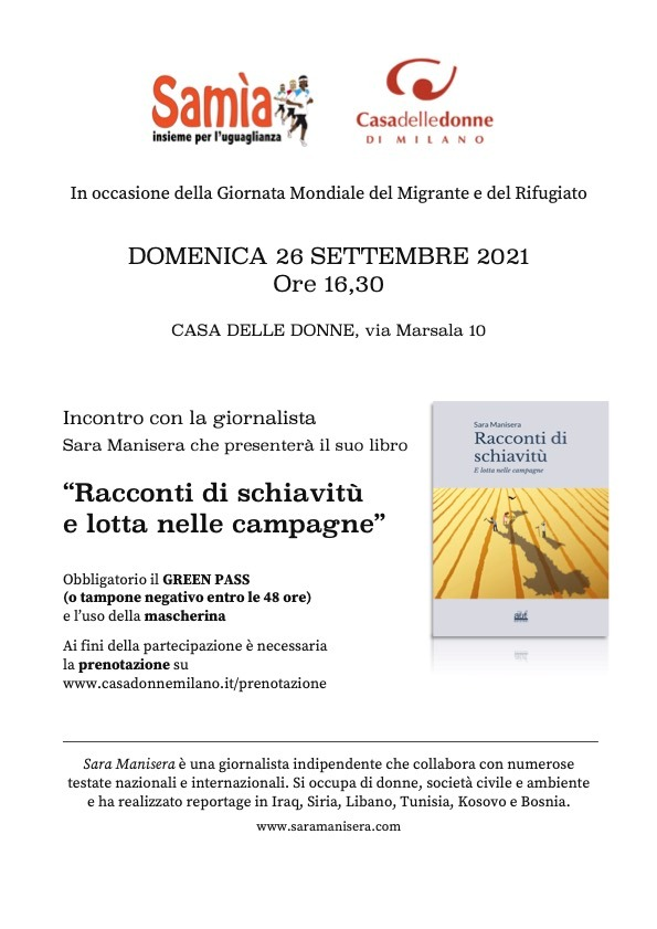 """Incontro con la giornalista Sara Manisera che presenterà il suo libro """"Racconti di schiavitù e lotta nelle campagne"""" @ Casa delle Donne di Milano"""