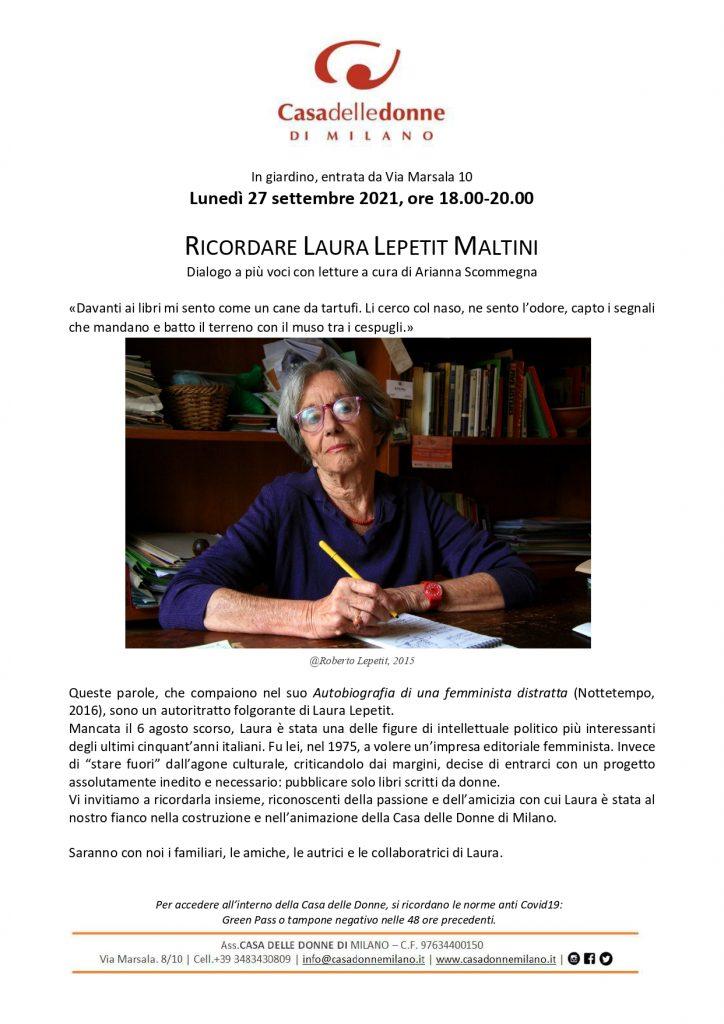 Incontro in ricordo di Laura Lepetit nel giardino dalla CASA - Dialogo a più voci con letture a cura di Arianna Scommegna @ Casa delle Donne di Milano