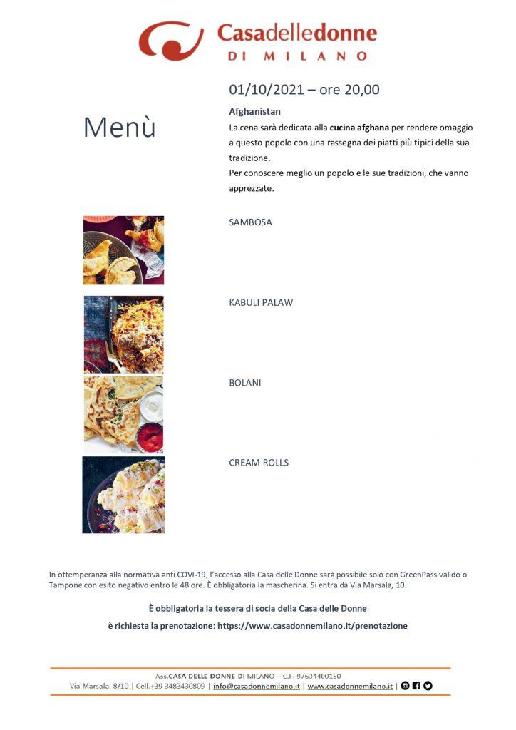Cena dedicata alla cucina afghana @ Casa delle Donne di Milano