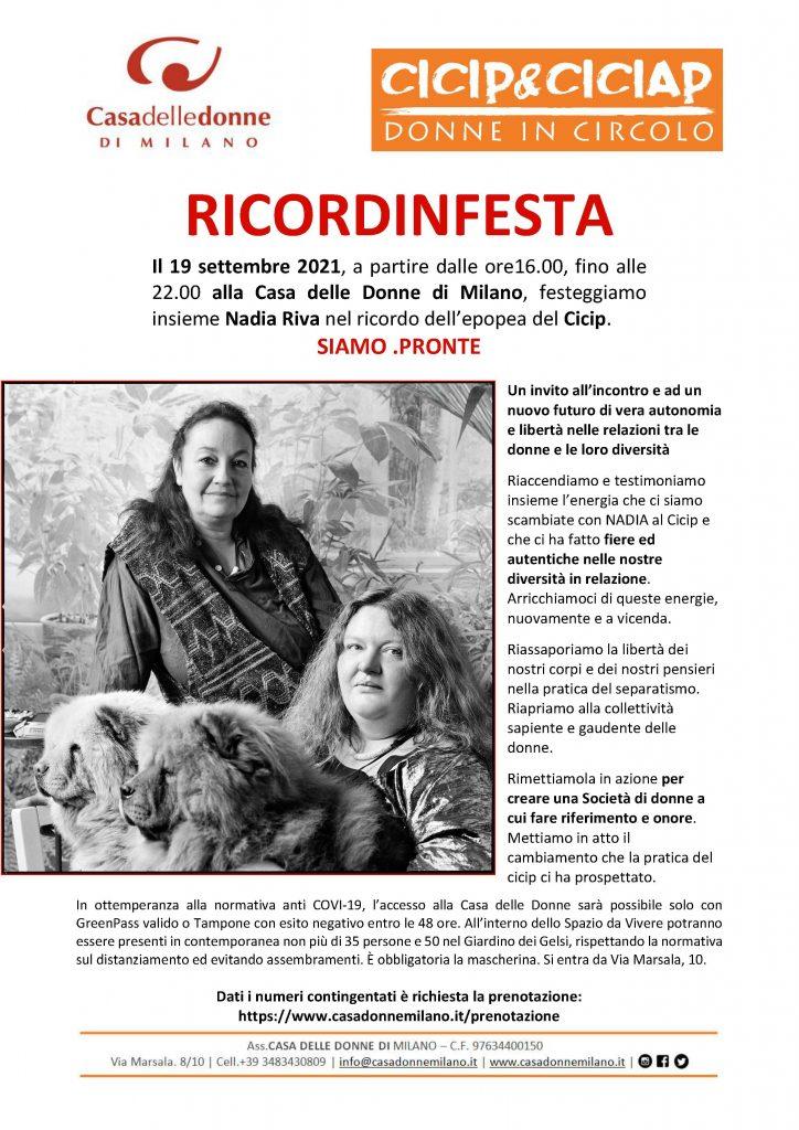 RICORDINFESTA - Evento in presenza organizzato da Daniela Pellegrini nello Spazio da Vivere in memoria di Nadia Riva @ Casa delle Donne di Milano