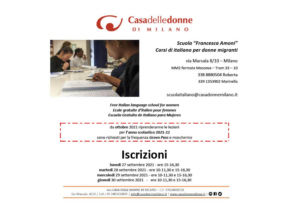 """Iscrizioni alla Scuola d'Italiano """"Francesca Amoni"""" per donne migranti @ Casa delle Donne di Milano"""