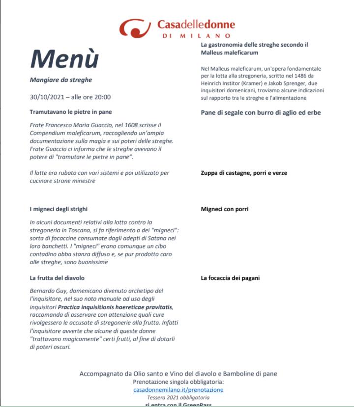 """La cena del mese """"Dee e streghe in cucina"""" @ Casa delle Donne di Milano"""